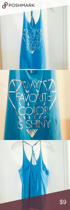 My Favorite Color Is Shiny Tank Well-loved but no stains or tears! Lettering not cracked and looks great. Just general wear. Cute braided straps on back. Freeze Tops Tank Tops