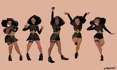Beyoncé Dancers Super Bowl 50 Halftime Show Art