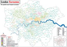 LONDON SURNAMES  This map shows the 15 most frequent surnames in each Middle Super Output Area (MSOA) across Greater London. The colours represent the origin of the surname. The surnames have also been scaled by their total frequency in each MSOA.  This map was produced by James Cheshire, Department of Geography, UCL.
