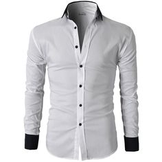 H2H Mens Wrinkle Resistant Slim Fit Dress Long Sleeve Shirts with... ($28) ❤ liked on Polyvore featuring men's fashion, men's clothing, men's shirts, mens slim fit shirts, mens clothing, men's apparel, slim fit mens clothing and mens slim shirts