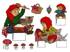 "Karens Kravlenisser. Cut-outs and Colouring Pages. : Christmas Sheets: ""Decoration Gnomes"" ""Kravlenisser"" Cutouts in Colours. Juleklippeark ""Dekorations Nisser"" ""Kravlenisser"" klippeark i farver."