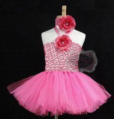 Tutu Dress Set Pink Tutu with Flower & Headband by KidzKlothezline