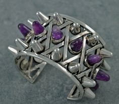 Antonio Pineda Silver & Amethyst Bracelet inspired by a bomb from WWII yet so current