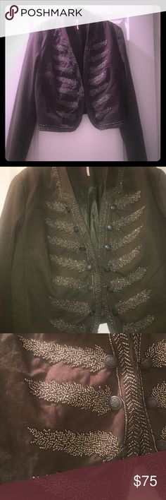 Current free people beaded military crop jacket Current free people beaded military crop jacket. Never work. Heavy beautiful beaded detail. One hook and eye closure Free People Jackets & Coats Blazers