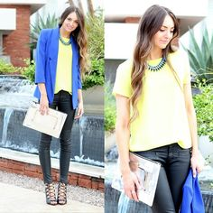 Forever 21 Yellow Top, Eliza J Blue Blazer, Asos Chrome Clutch, Asos Coated Denim, Zara Lace Up Heels