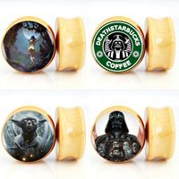 10pair/lot Star Wars Darkside and Lightside of the Force Logo Nature Wood Saddle Fit Ear Gauges Plugs And Flesh Tunnels 6mm-25mm