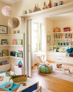 If I ever remodel the space I'm in, the two current front bedrooms could be combined to create a playspace/guest room sort of like this, only way uglier and messier.