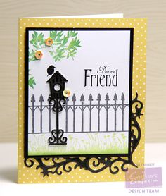 Designed by Lori Barnett.  Dies - Crafter's Companion Die'sire Spring/Summer Die Collection Garden Birdhouse Die and Floral Flourish Stamps - Crafter's Companion  Sheena's A Little Bit Scenic - Silhouette Garden stamp set; Sheena's A Little Bit Sketchy - Wrought Iron stamp set;  Vintage Floral Collection - Greetings stamp set. @CraftersCompUS @crafterscompuk