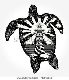 Sea turtle double exposure animals t-shirt design. Turtle tattoo art. Symbol of tropical travel, adventure, surf. Lighthouse on edge of cliff