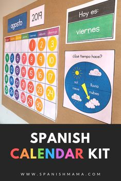 A rainbow Spanish calendar kit designed specifically to support Spanish learners in the classroom. Includes months, days, weather, clothing, and editable labels to give your room a bright and colorful feel! Preschool Spanish, Spanish Teaching Resources, Spanish Activities, Teacher Resources, Teaching Ideas, French Lessons, Spanish Lessons, Learn Spanish, Learn French