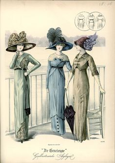 Day or walking dresses and hats, 1911 the Netherlands, De Gracieuse