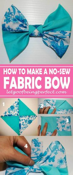 Making Fabric Bows ... Bows, Bows, Bows Everywhere! Making fabric bows is super simple. Step-by-step DIY tutorial - NO SEWING needed. Great for crafts and refashions. You don't need a square of fabric, either. Make your own square with fat quarters or fabric scraps, even some of those castaways from clothing or t-shirt refashions. Add hair ties, headbands, shoes, skirts, dresses, sweaters - everything. More awesome tutorials from http://letgoofbeingperfect.com