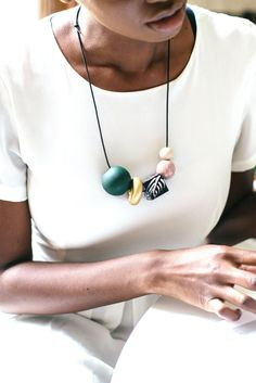 Who knew a hand-painted wood bead necklace could look so chic?