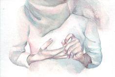 H009 Original watercolor painting art Hands by Helga by HelgaMcL