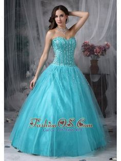 Beautiful Aque Blue A-line Sweetheart Quinceanera Dress Tulle Beading Floor-length  http://www.fashionos.com  sleeveless quinceanera dress with fitted bodice   quinceanera dress with special design   quinceanera dress in victorian age   princess quinceanera gown   popular sweetheart quinceanera dress   sweetheart quinceanera dress with a line skirt   fitted quinceanera dress for belle   beaded organza quinceanera gown  