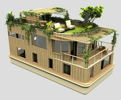 Can be achieved with two long shipping containers next to each other with two me. Can be achieved with two long shipping containers next to each other with two medium containers nex Casas Containers, Floating House, Future House, Tiny House, Architecture Design, Amazing Architecture, House Plans, Backyard, Exterior