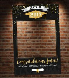 Black and Gold Graduation Photo Booth. Digital File Only Black and Gold Graduation Photo Booth. Great for graduation parties! Colors and text customizable. Graduation Party Themes, 8th Grade Graduation, College Graduation Parties, Graduation Celebration, Graduation Decorations, Graduation Pictures, Grad Parties, Graduation Frames, Graduation Centerpiece