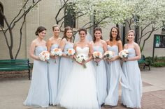 Strapless Ice Blue Bridesmaids Dresses   photography by http://emiliajanephotography.com/