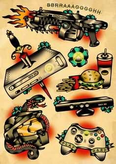 Geek  game X box 360 tattoo flash set Art Print old school fast food sword gun controller Tattoo Flash Art ~A.R.