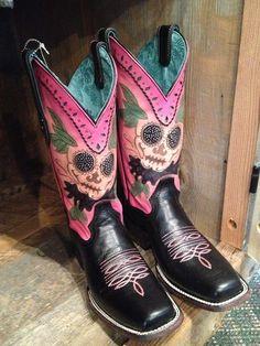 Sugar skull boots.. www.titanoutletstore.com