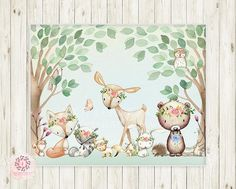 Woodland Animals Wall Art Print Boho Deer Bunny Fox Bear Hedgehog Floral Bohemian Watercolor Baby Girl Nursery Printable Decor You … Nursery Canvas, Nursery Art, Nursery Paintings, Woodland Decor, Woodland Baby, Woodland Creatures, Woodland Animals, Pink Forest, Baby Girl Nursery Decor