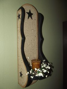 Primitive Crackle Wood Sconce with Candle & Pip Ring ~ Country Decor #NaivePrimitive