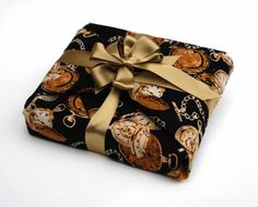 Luxury Gift Wrap, Reusable Fabric Gift Wrap, Pocket Watch with gold ribbons via Etsy