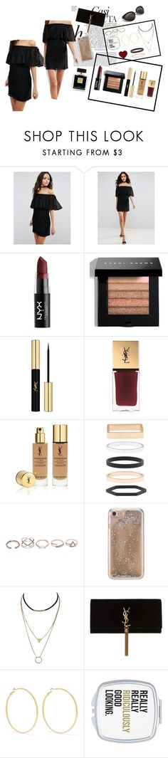 """""""Too Glam To Give A Damn"""" by classystyleer ❤ liked on Polyvore featuring Whiteley, ASOS, NYX, Bobbi Brown Cosmetics, Yves Saint Laurent, Avon, Accessorize, GUESS, Agent 18 and Kenneth Jay Lane"""