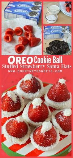 OREO Cookie Ball Stuffed Strawberries + Holiday Cookie Party such a fun easy recipe for entertaining