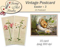 Vintage printable Easter art postcard eggs flower spring decor unusual gift congratulation watercolour art printable card vintage design