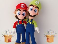 Mario & Luigi Brothers  Mario size : 37 cm Luigi size : 41 cm  -the pattern is available in English and Deutsch - 34 pages long and has 218