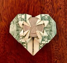 Origami Heart Out Of A Dollar Money Origami Heart Instructions. Origami Heart Out Of A Dollar Fold And Mail One Dollar Origami Heart. Origami Heart Out Of A Dollar Origami Heart Valentines Day Gift Money And 29 Similar Items. Dollar Heart Origami, Money Origami Heart, Easy Dollar Bill Origami, Origami Owl Easy, Origami Bow, Useful Origami, Origami Paper, Origami Design, Origami Heart Instructions