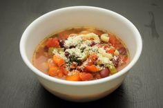 Slow Cooker Minestrone Soup (Print this recipe)  Ingredients:  - 1/4 Onion, Minced  - 2 Cups Spinach  - 2 Cups Small Pasta, Cooked  - 2 Large Carrots, Chopped  - 2 Celery Stalks, Chopped  - 1 Can Diced Tomatoes  - 3 Cups Chicken Broth  - 1 Chunk of Parmesan Cheese Rind  - 1 Teaspoon Basil  - 3 Garlic Cloves, Minced  - 1/2 Teaspoom Thyme  - Salt & Pepper  - Parmesan Cheese  - 1 Kidney Beans, Drained & Rinsed   Instructions:  1. In a slow cooker/crock pot, combine tomatoes, beans, broth…