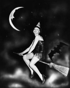 vintage Witch on a broom