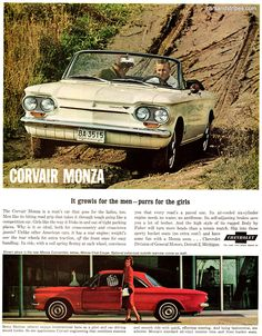 1963 Chevrolet Corvair Monza - It growls for the men - purrs for the girls - Original Ad