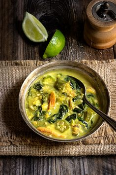 Creamy spinach okra soup with crab meat and coconut milk - mild, perfectly balanced flavors in a thick, luscious broth - delicious and comforting!
