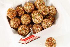 Apricot and chia balls: dried apricot, peanut butter, coconut, honey, cocoa powder, sesame seeds, pumpkin seeds, chia seeds, oats