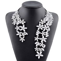 $10.14 Charming Rhinestone Floral Hollow Out Cuff Necklace For Women