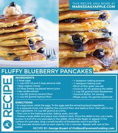 Fluffy Blueberry Pancakes | #Paleo #Primal #GlutenFree