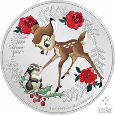 Disney - Weihnachtsgrüße - 1 Unze Feinsilber Star Wars Christmas, Disney Christmas, Best Christmas Gifts, Walt Disney, Bambi Disney, Mint Coins, Silver Coins, Bambi And Thumper, Commemorative Coins