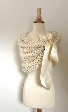 Hand Knit Cream Wedding Shawl with matching satin bow. Custom colors available.   https://www.etsy.com/listing/201980419/cream-wedding-shawl-with-cream-bow-cream