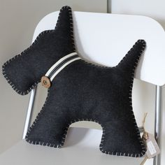 Scottie Dog Cushion Hand Embroidered (free UK P&P) £40.00