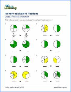 Grade 3 Fractions & decimals Worksheet identifying equivalent fractions using pie charts Fractions For Kids, 3rd Grade Fractions, Simplifying Fractions, Comparing Fractions, Improper Fractions, Equivalent Fractions, Multiplication, Dividing Fractions, Free Fraction Worksheets