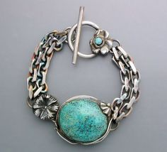 Turquoise Flower Bracelet by Temi on Etsy