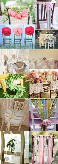 Lower left:  Chair decor using lace ribbons tied to baby's breath.