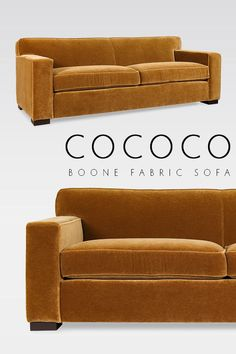 """Sometimes simplicity is best we think our Boone Fabric Sofa is a beautiful example with a clean tight back and generous proportions it's sure to be a hit! Shown in: Nevada Velvet """"Brown Sugar"""" by . Interior Livingroom, Living Room Interior, Tight Back Sofa, Yellow Sofa, Velvet Couch, Brown Sofa, Kitchen Pictures, Scatter Cushions, Farmhouse Kitchen Decor"""