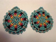 round beaded rosette earrings turquoise blue accented with silver, red orange, and black Beaded Earrings Native, Seed Bead Earrings, Beaded Choker, Earrings Handmade, Beaded Jewelry, Beaded Bracelets, Seed Beads, Beading Ideas, Stud Earrings