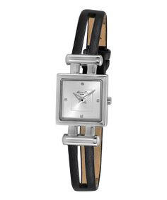 Take a look at the Kenneth Cole Black & Silver Square Cutout Strap Watch