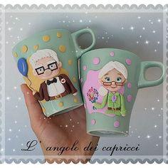 Mug ♡ Carl and Elly♡commission #fimo #polimer #clay #clayart #fimoclay #creations #mug #carledellie #up ##fantasy #fimoart #art #handmade #fattoamano #fimopoliclay #love