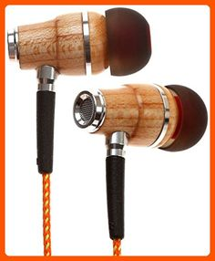 Symphonized NRG Premium Genuine Wood In-ear Noise-isolating Headphones with Mic (Orange Stripe) - Audio gadgets (*Amazon Partner-Link)